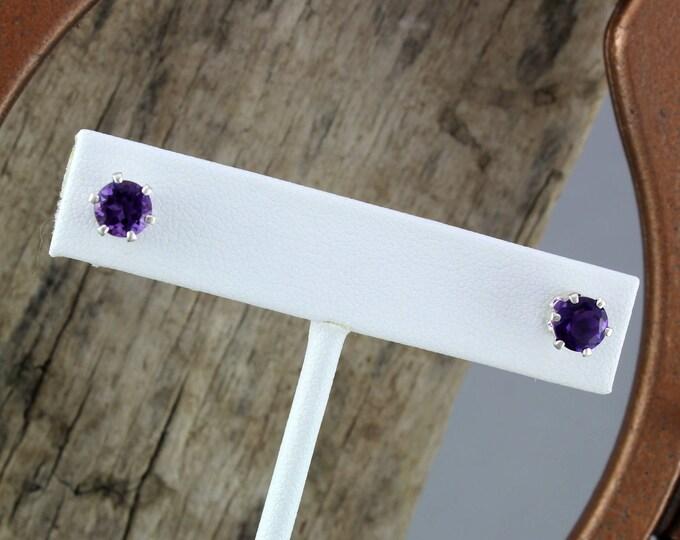 Silver Earrings -Purple Amethyst-Amethyst Earrings -Stud Earring -Gemstone Earrings -Statement Earrings -Boho Earrings-Purple Gemstone-Studs