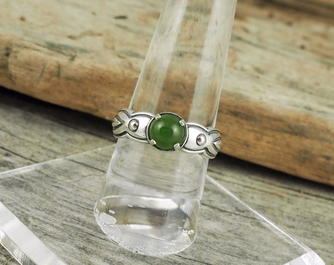 Sterling Silver Ring - Natural Green Jade Ring - Friendship Ring -  Statement Ring with a 6mm Natural Green Jade Cabochon