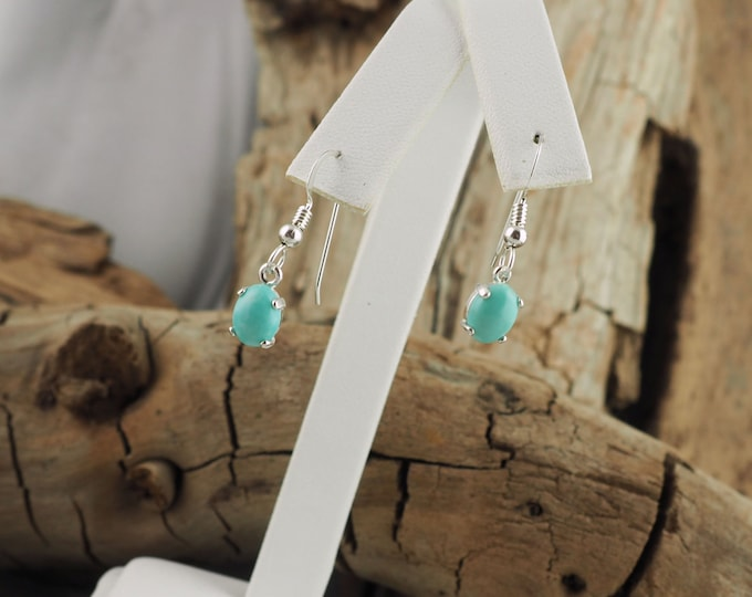 Silver Earrings -Blue Turquoise -Dangle Earrings -Drop Earrings  - Boho Earrings - Turquoise Earrings-Blue Stone Earrings-Statement Earrings