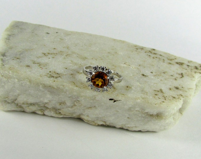 Sterling Silver Madeira Citrine Cocktail Everyday Ring   Friendship Ring with 7mm Madeira Citrine Gemstone with CZ Accents