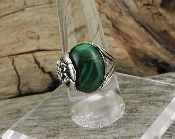 Sterling Silver Ring, Natural Green Malachite Ring, Statement Ring - Friendship Ring - with a 12mm x 16mm Green Malachite
