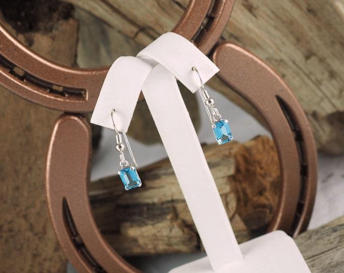 Silver Earrings -Swiss Blue Topaz -Blue Topaz Earrings - Gemstone Earrings -Drop Earrings -Dangle Earrings-Statement Earrings-Blue Gemstone