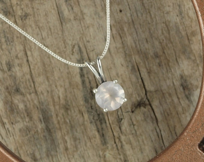 Sterling Silver Pendant/Necklace - Rose Quartz Pendant/Necklace - Sterling Silver Setting with a 10mm Natural Pink Rose Quartz Gemstone
