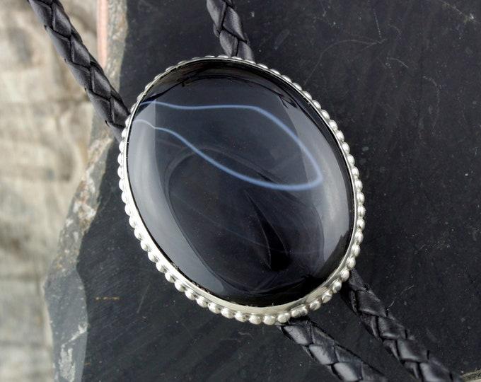 Western Bolo Tie -Black Onyx Bolo Tie -Cowboy Bolo Tie-Silver Bolo Tie - Bolo Ties