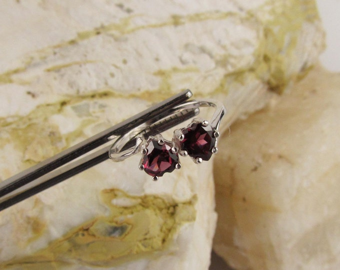 Sterling Silver Ring - Red Rhodalite Garnet Ring - Friendship Ring - Promise Ring - Two Heart Ring with Two 5mm Rhodalite Garnet Hearts