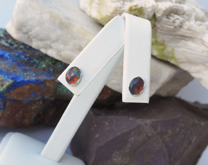 Silver Earrings -Precious Opal - Statement Earrings -Boho Earrings - Stud Earrings - Opal Earrings - Stone Earrings -