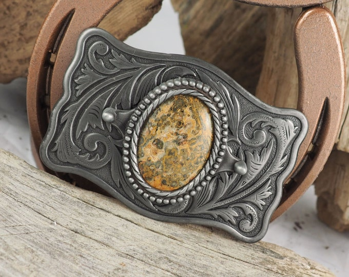 Western Belt Buckle -Natural Stone Belt Buckle -Cowboy Belt Buckle - Antique Silver Tone Belt Buckle with a Natural Leopard Skin Jasper
