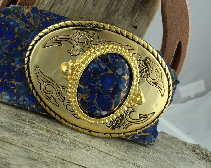 Western Belt Buckle - Lapis Belt Buckle - Cowboy Belt Buckle -Boho Belt Buckle - Belt Buckles