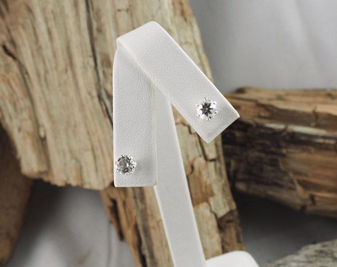 Silver Earrings - White Topaz -White Topaz Earrings -Stud Earrings -Statement Earrings -White Gemstone -Gemstone Earrings -Wedding Earrings
