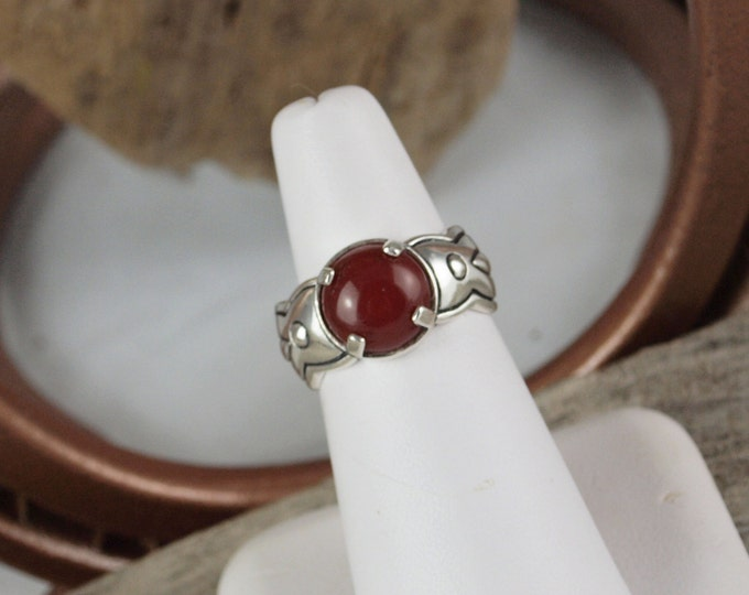 Sterling Silver Ring - Natural Red Carnelian Ring -Friendship Ring -  Statement Ring with a 10mm Natural Red Carnelian Stone