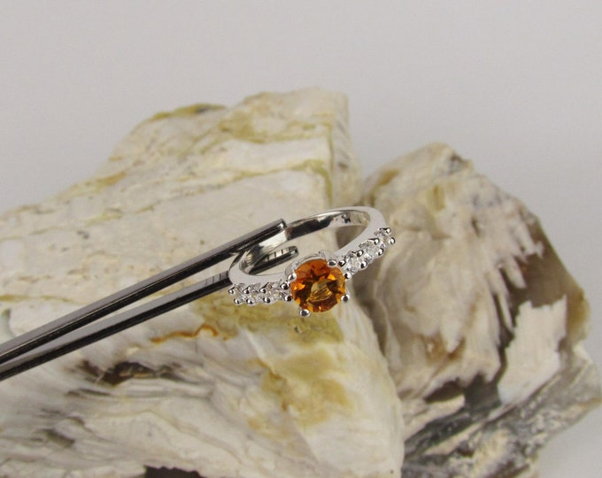 Sterling Silver Ring -Natural Madeira Citrine Ring -Statement Ring - Friendship Ring - Promise Ring with a 6mm Madeira Citrine Stone