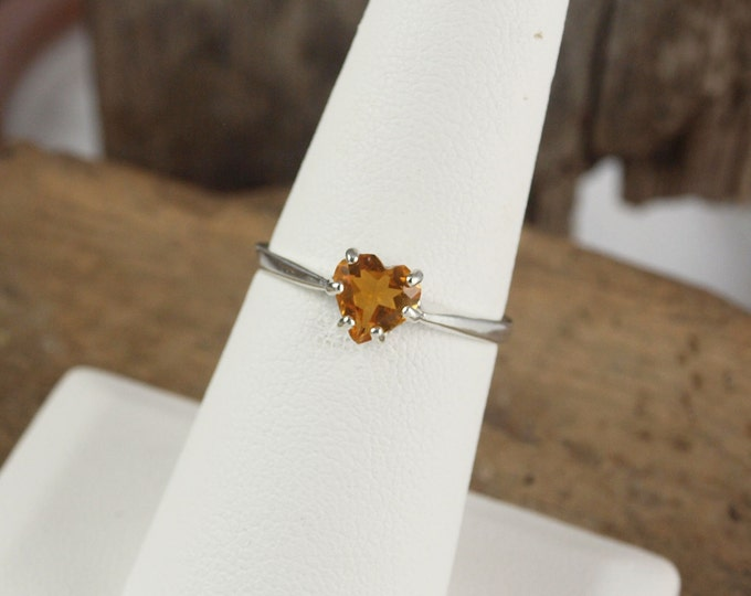Sterling Silver Ring -Madeira Citrine Ring - Friendship Ring -Promise Ring - with a 6mm Madeira Citrine Heart Shaped Stone