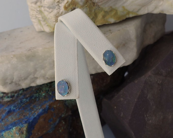 Silver Earrings -Precious Opal -Statement Earrings -Stud Earrings - Boho Earrings - Opal Earrings - Wedding Earrings-Precious Opal Studs