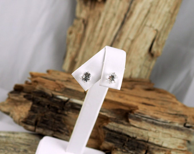 Sterling Silver Post Earrings - Natural White Topaz Stud Earrings - 6mm Natural White Topaz Stones on Sterling Silver Posts