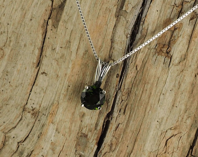 Sterling Silver Pendant/Necklace  Chrome Diopside Pendant/Necklace -  Sterling Silver Setting with a 6mm Natural Green Chrome Diopside Stone