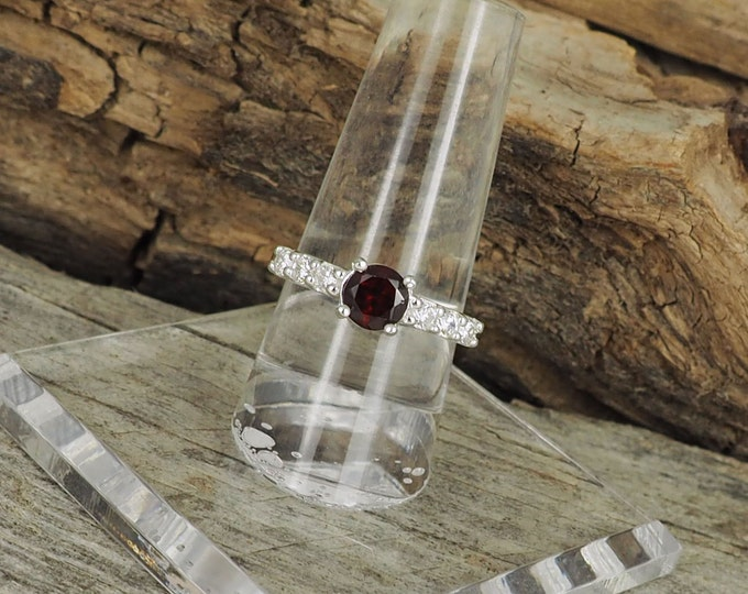 Sterling Silver Red Garnet Ring - Promise Ring - Friendship Ring - Engagement Ring Everyday Ring with 6mm Red Garnet with CZ Accents