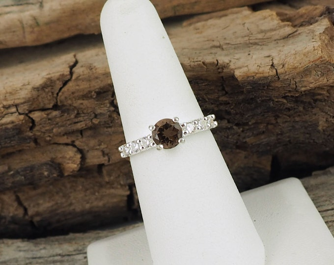 Sterling Silver Smokey Quartz Ring - Promise Friendship Ring        - Engagement Ring Everyday Ring with 6mm Smokey Quartz with CZ Accents