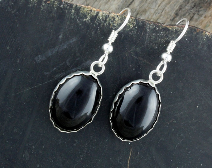 Black Onyx Earrings - Silver Earrings - Dangle Earrings- Onyx Drop Earrings - Statement Earrings