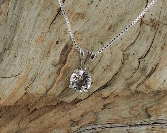 Sterling Silver Pendant/Necklace - White Topaz Pendant/Necklace - Sterling Silver Setting with a 5mm Natural White Topaz Gemstone