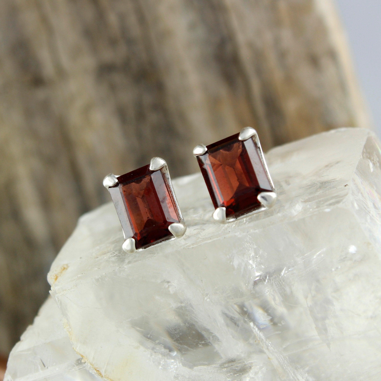 2d8b798a6 Red Garnet Earrings - Silver Post Earrings - Red Garnet Studs - Silver ...