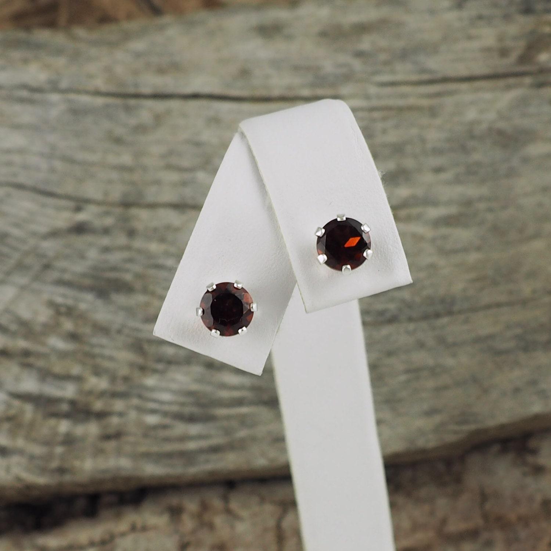 eba911e20 Silver Earrings-Red Garnet Studs-Red Garnet Earrings-Stud Earrings ...