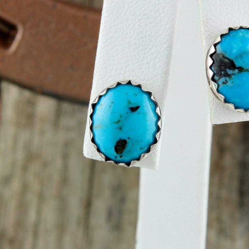 Boho Earrings Silver Post Earrings Turquoise Studs Kingman Turquoise Earrings
