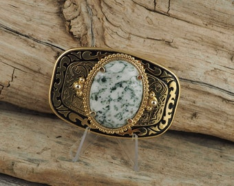 Western Belt Buckle -Natural Green Tree Agate -Cowboy Belt Buckle - Gold Tone and Black with Green Tree Agate