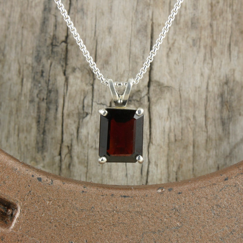 Natural Red Garnet Pendant Sterling Silver Pendant Necklace Red Garnet Necklace