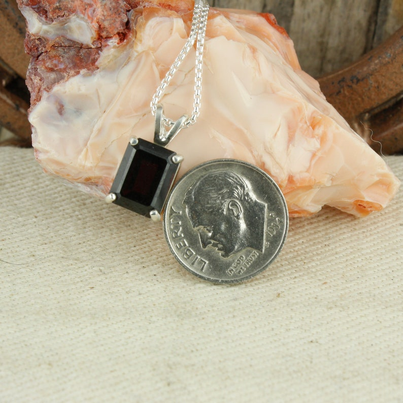 Sterling Silver Pendant Necklace Natural Red Garnet Pendant Natural Red Garnet Necklace
