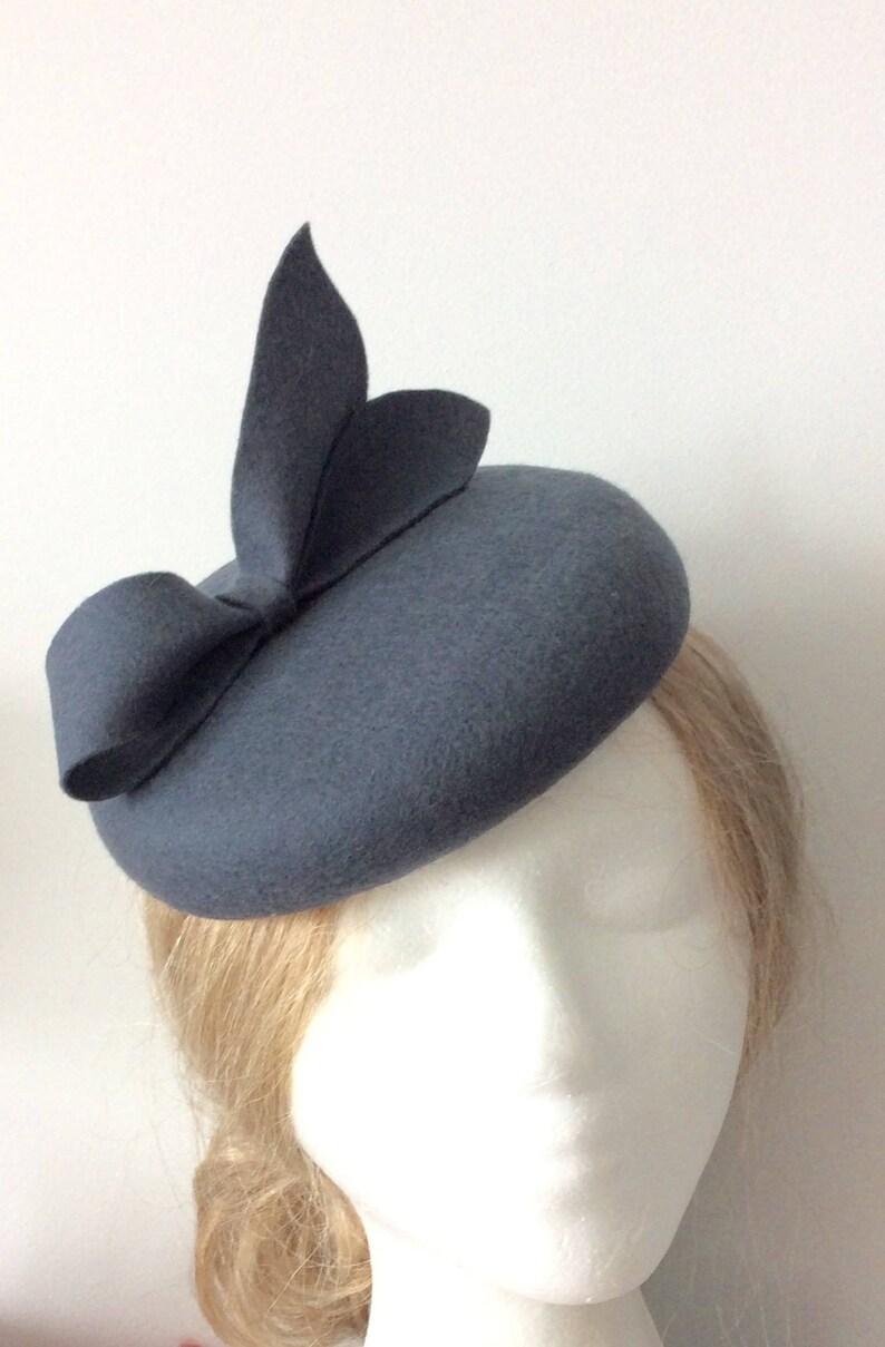 36950db60dd 100% Merino Wool Fascinator Hat Charcoal Gray Bow hat
