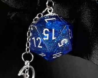 Blue Glitter Mega D20 Keychain