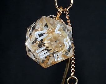 Gold Flower D20 Star Wand Charm Necklace