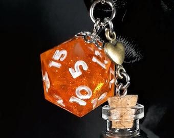 Orange Glitter D20 Keychain