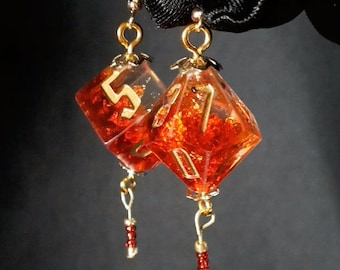 Mismatched Dice Earrings - Crimson and Gold