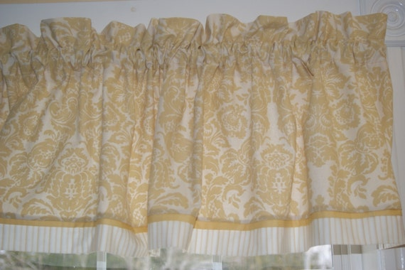 """Chris Stone Gold Beige Floral Toile Valance 17/"""" X 55/"""" Drapery Weight Curtain"""