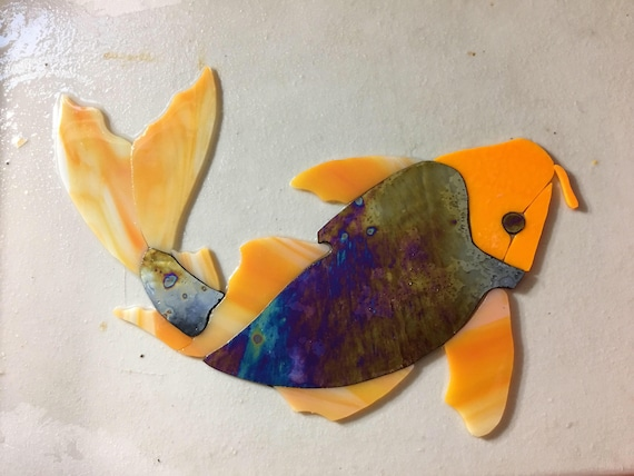Precut Koi Fish Stained Glass Orange Any Color Mosaic Inlay Glass Tile Pavor