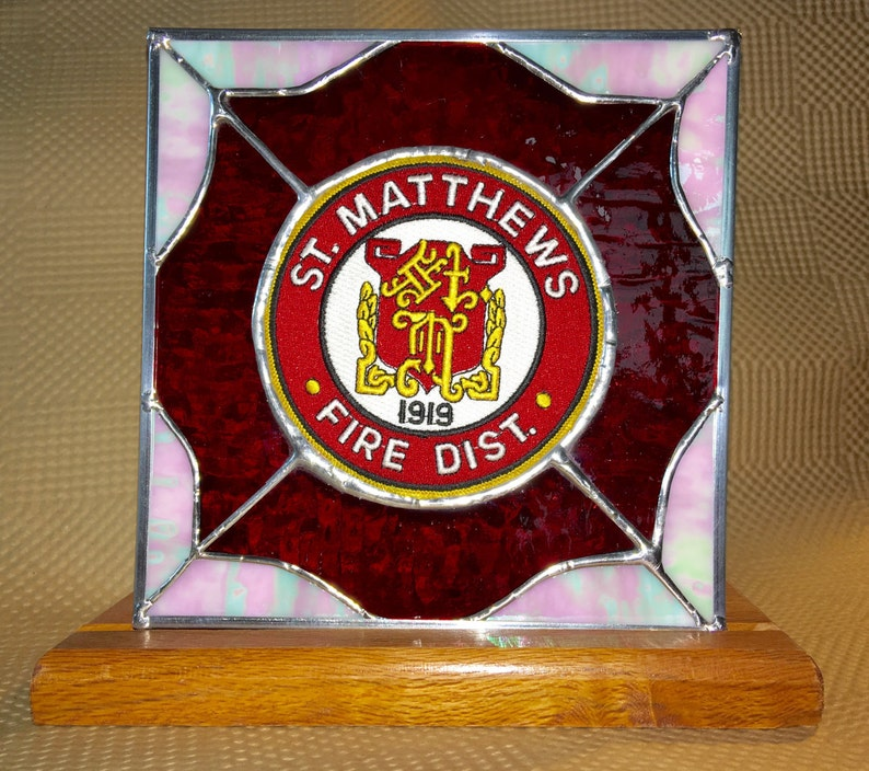 e0b1e05165bb Stained Glass Service Fireman Patch Suncatcher or panel