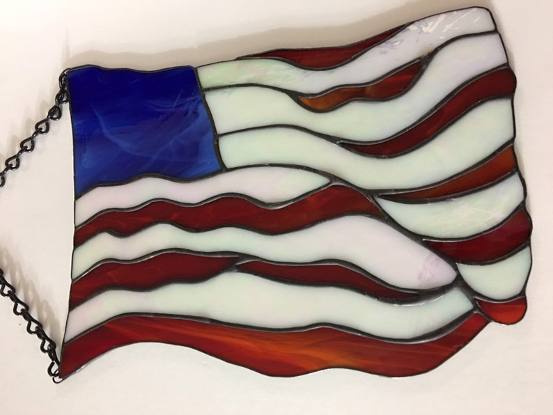 c783a71c42a3 Stained Glass American Flag Patriotic Suncatcher Panel Make