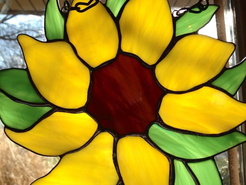 Stained Glass Sunflower Sun Catcher Wild Flower Handmade image 0