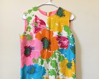 VTG 60's Lady Dorothy Retro Floral Drop-Waist Shift Dress, Sz.12