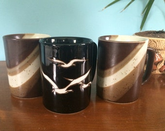 """Set of 3 Vintage Mugs with Seagull and Wave designs, 4"""""""