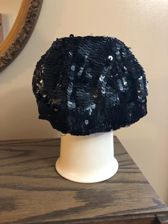 1950's Black Sequin Pillbox Hat