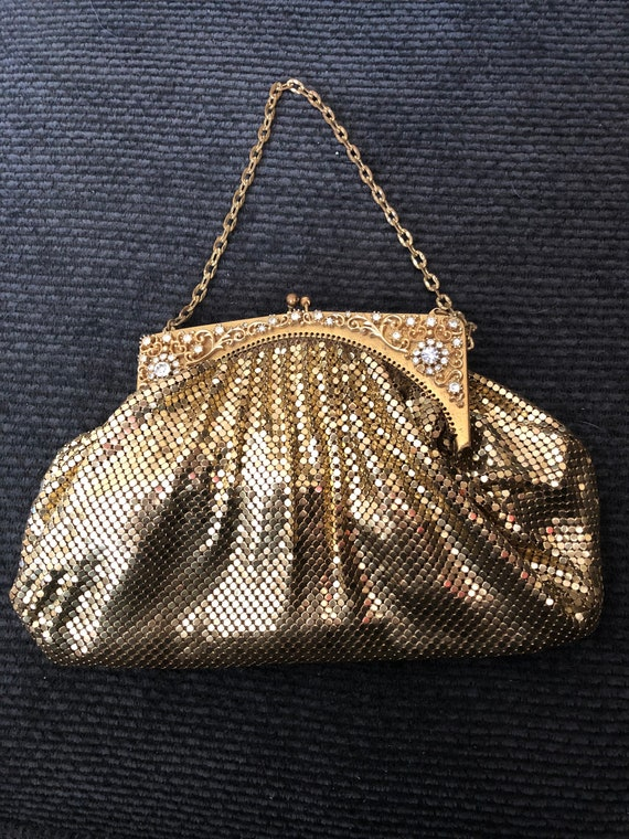 Vintage 1940's Gold Whiting and Davis Mesh Purse w