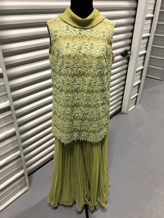 1960s Charmeuse Green Beaded Lace Tank Top & Palaz