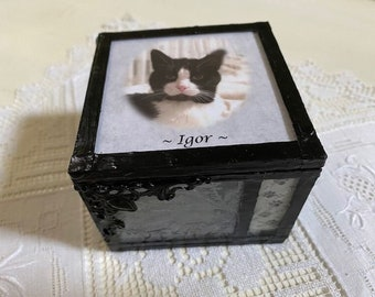 stained glass customized loss of pet memory keepsake box