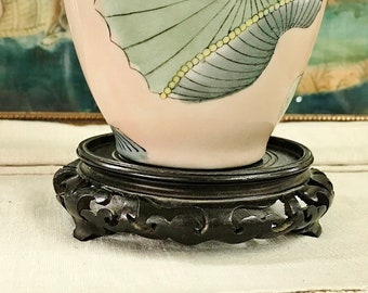 CHINESE HARD REDWOOD SQUARE  NICE CARVED BONSAI POT//VASE  STAND PAIR   USB