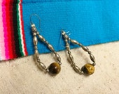 VinTAGE STERLING and TiGER 39 S EYE EARRINGS, NaTiVE AMERICaN iNdiAN NavAJO, sTERLiNG SiLVER JeWELry, WeSTERN BoHo ChiC ViNTAGE JewELRY