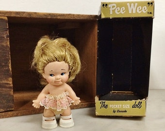 """ViNTAGE 1966 UNEEDA PEE WEE DoLL, MiNI 3-1/2"""" ToY DoLL, PoCKET SiZE  BlONDE Blue EyED RuBBER Baby DoLL, WoMEN's CoLLECTIBLES, ViNTAGE Toys"""