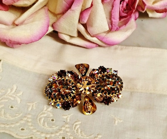 Vintage Austrian Crystal Rhinestone PiN BROOCH Brown YeLLow  b0c446a0c967