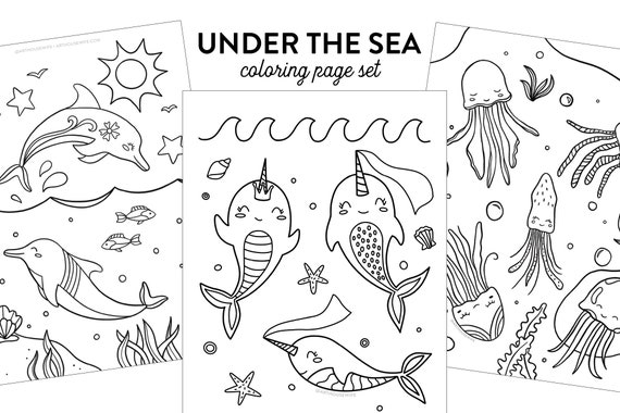 Under The Sea Kids Coloring Page Set  Printable Instant